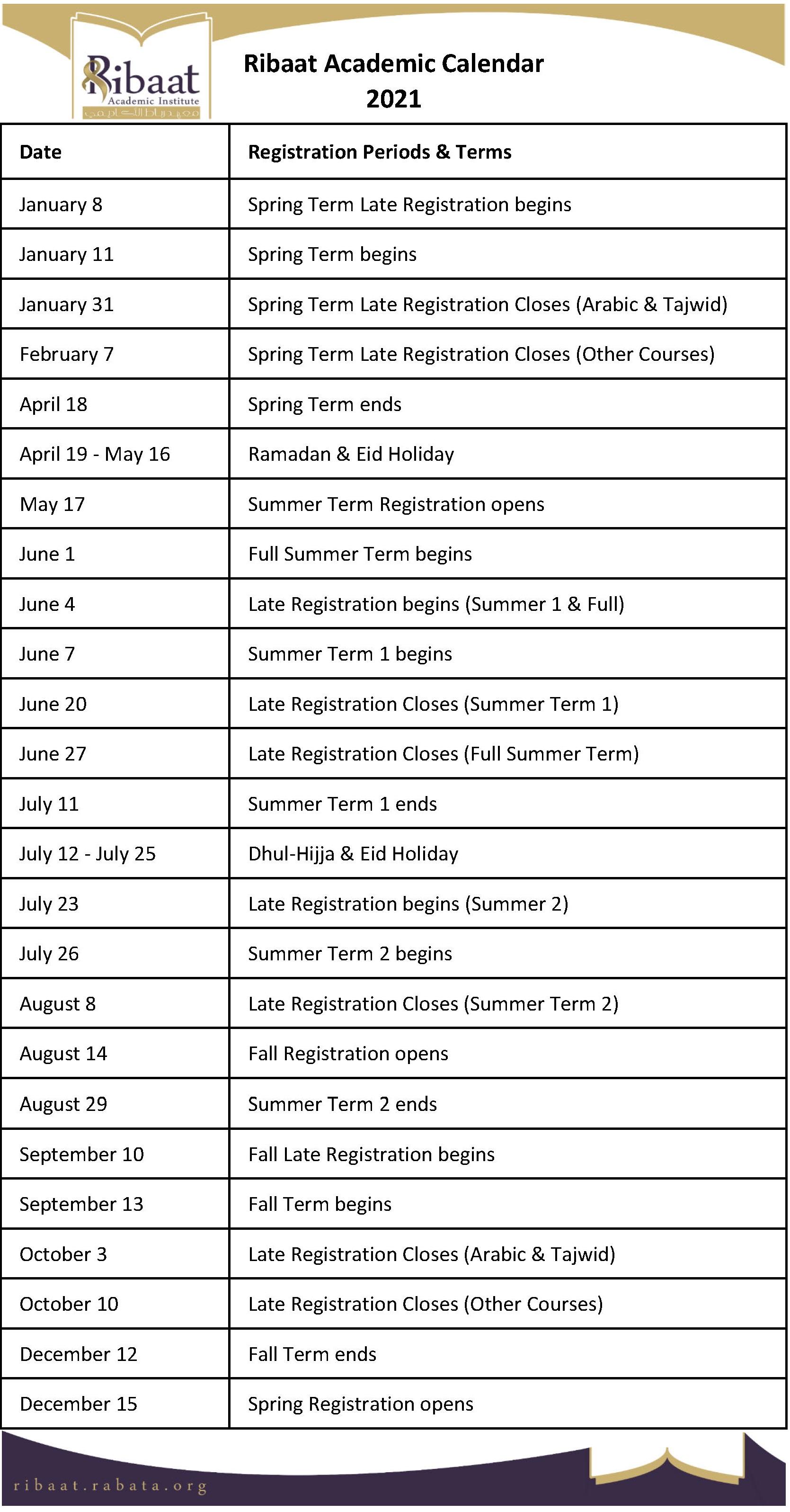 Ribaat Academic Calendar