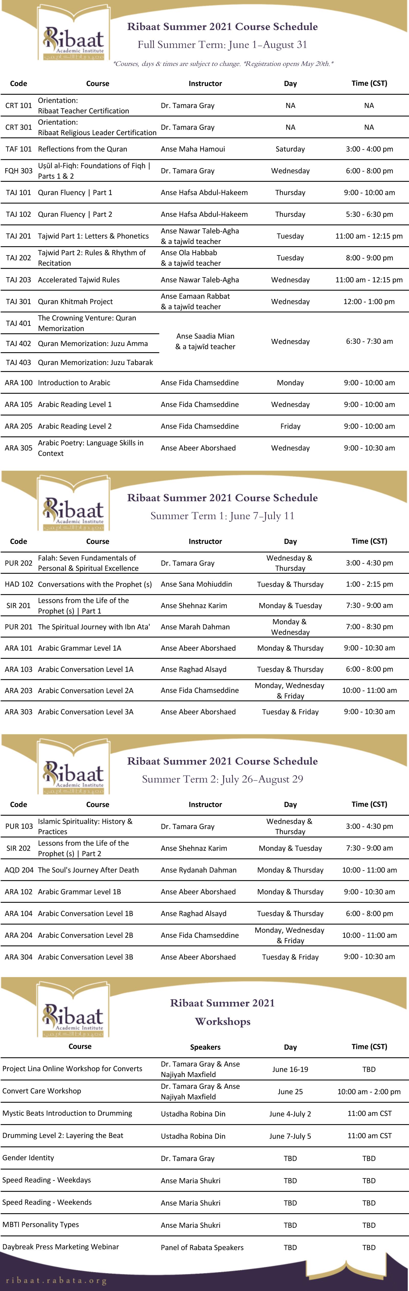 Ribaat summer 2021 course list