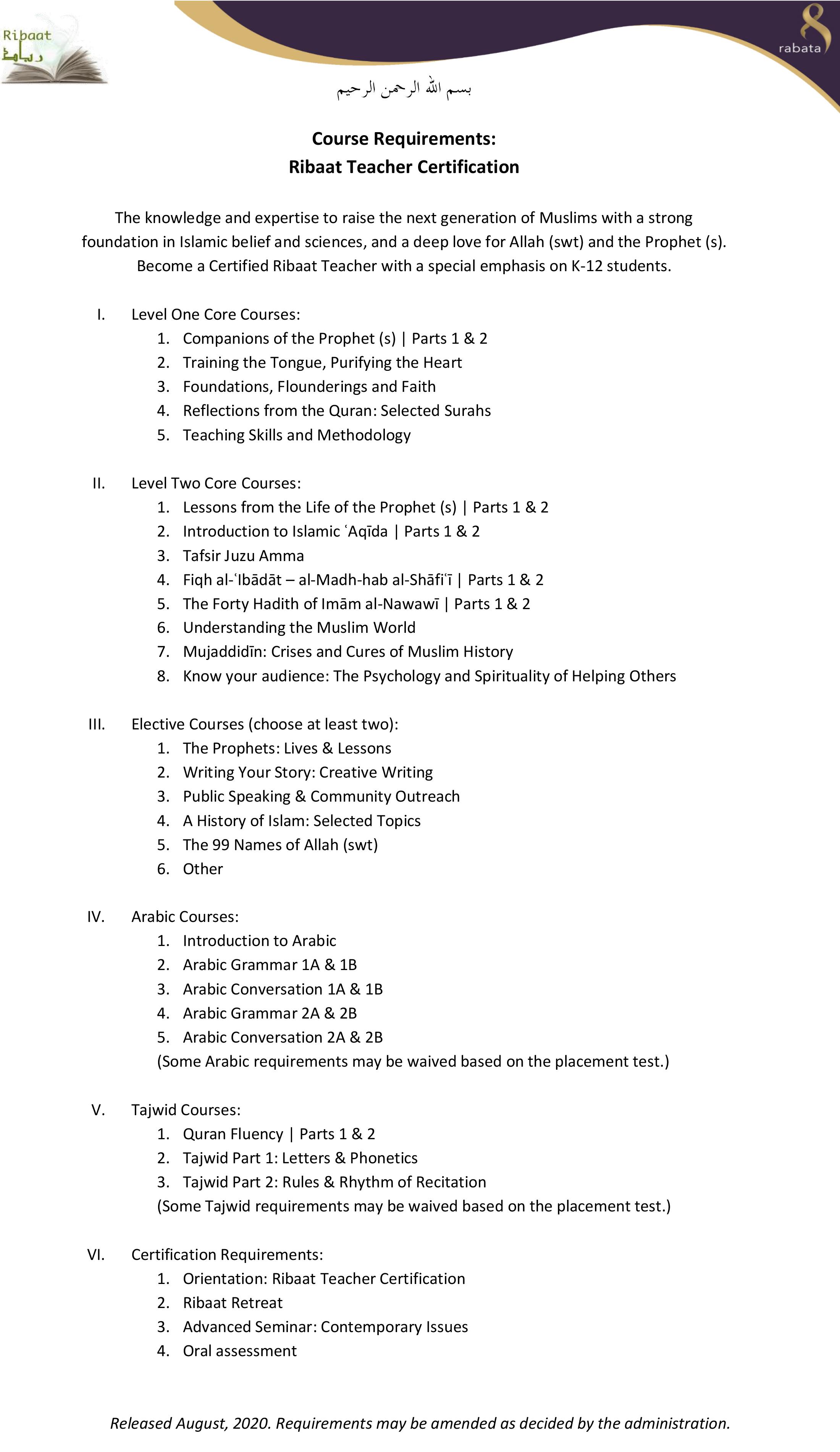 Ribaat Teacher Certification Requirements