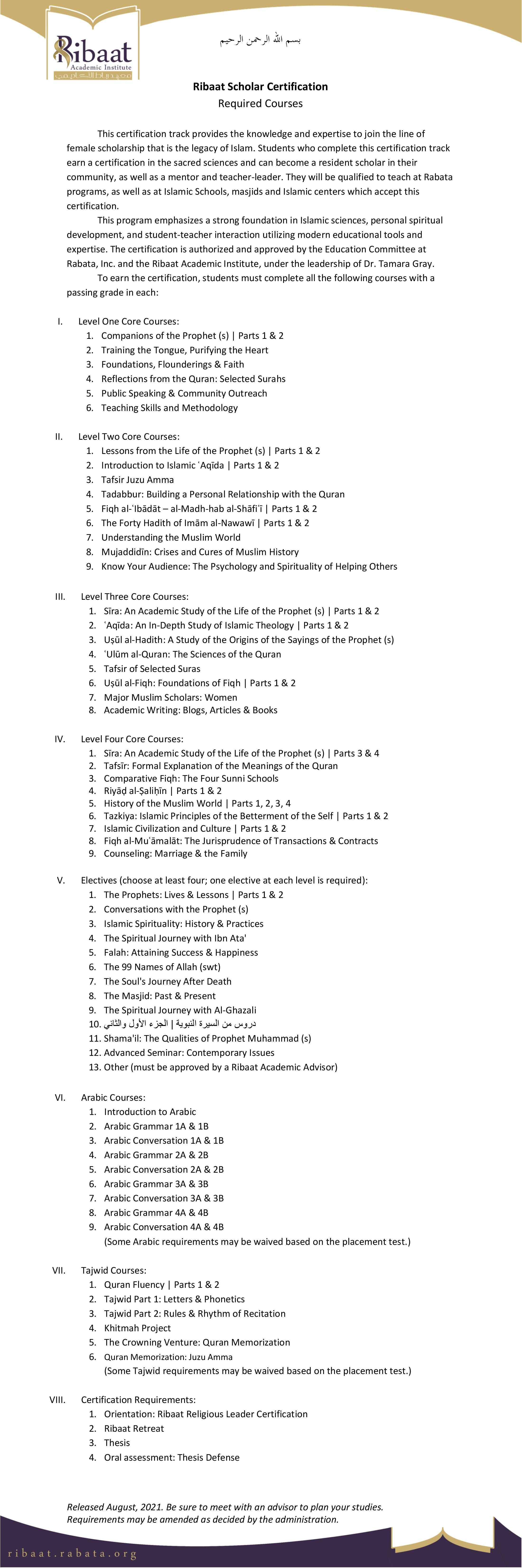 Required Courses - Ribaat Scholar 2021